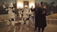 Barack and Michelle Obama dance with R2-D2 for Star Wars Day